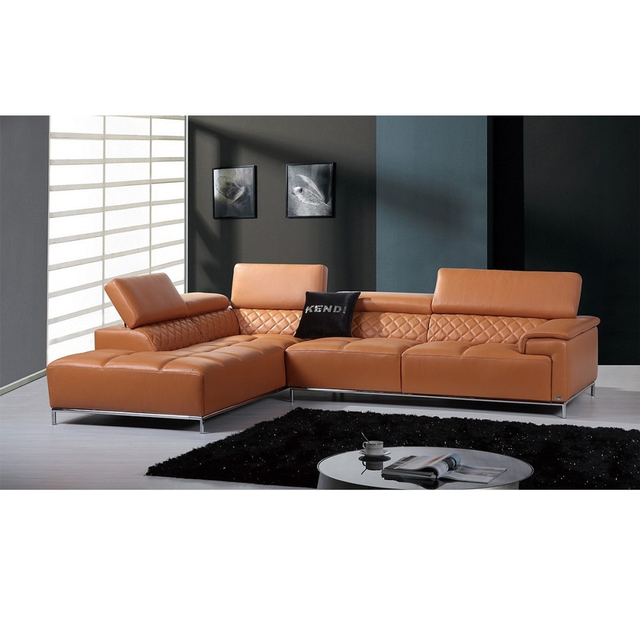 Divani Casa Citadel Modern Orange Italian Leather Sectional Sofa Lounge La