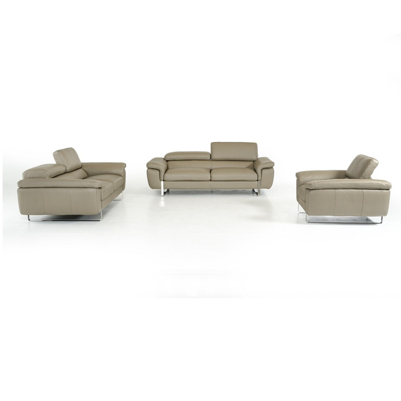 David Ferarri Highline Italian Modern Grey Leather Sofa Set
