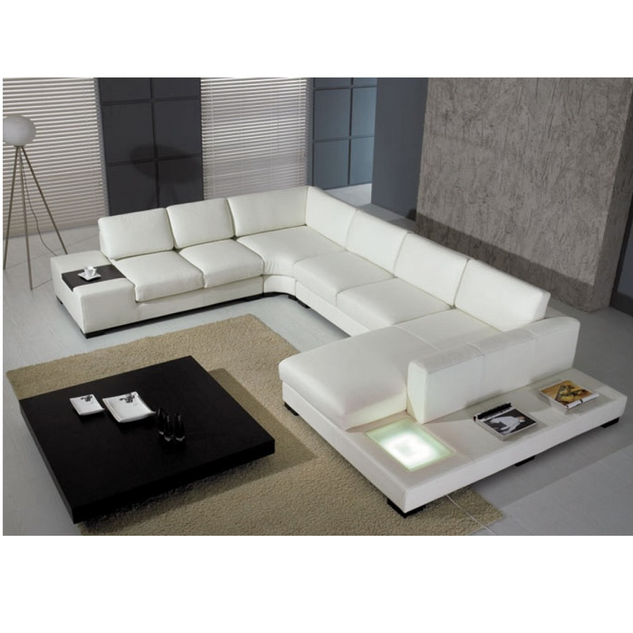t  modern black leather sectional sofa with light  lounge la - t  white italian leather sectional sofa with light