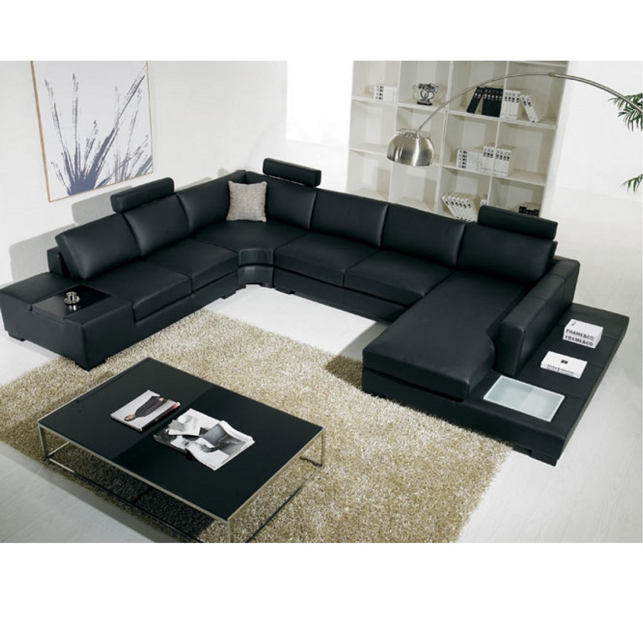 T35  Modern Black Leather Sectional Sofa With Light