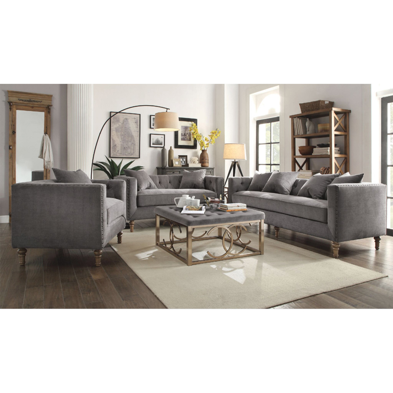 sidonia gray velvet sofa set lounge la. Black Bedroom Furniture Sets. Home Design Ideas