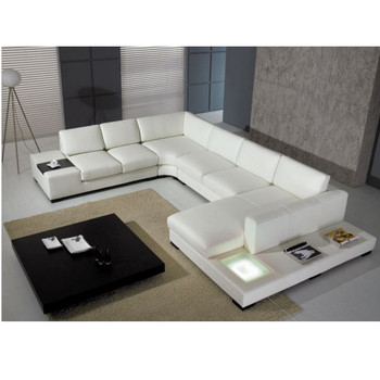 Divani Casa T35 - WHITE LEATHER SECTIONAL SOFA WITH LIGHT