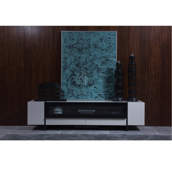Nova Domus Lorena Modern Grey & Gun Metal Black TV Stand