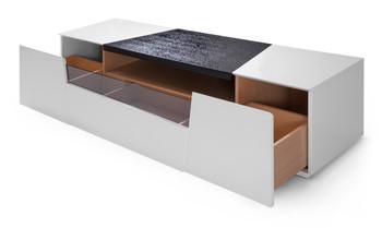 Modrest Keene Modern White & Black Oak TV Stand