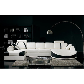 Divani Casa T57 Modern White and Black Bonded Leather Sectional Sofa