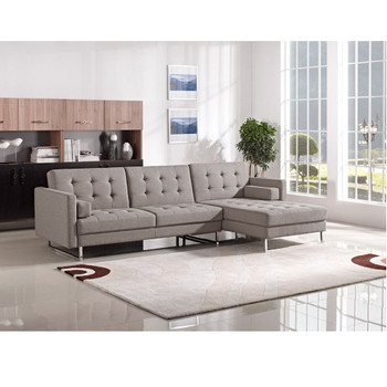 Divani Casa Smith Modern Brown Fabric Sectional Sofa