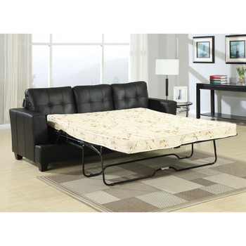 Platinum Black Bonded Leather Sofa with Queen Size Sleeper