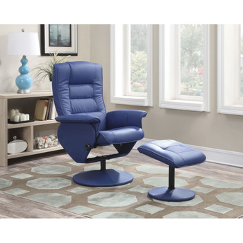 Arche Blue Leather Recliner with Ottoman