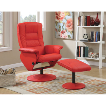 Arche Red Leather Recliner with Ottoman