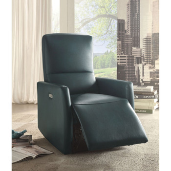 Raff Blue Leather Recliner