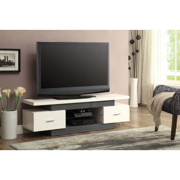 Vicente White and Gray TV Stand