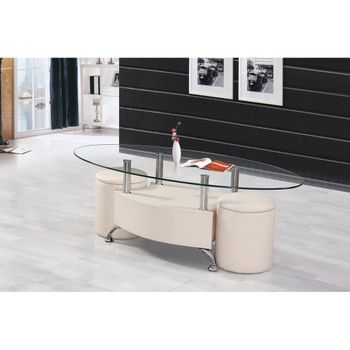 Sandy Cream Leather Coffee Table Set