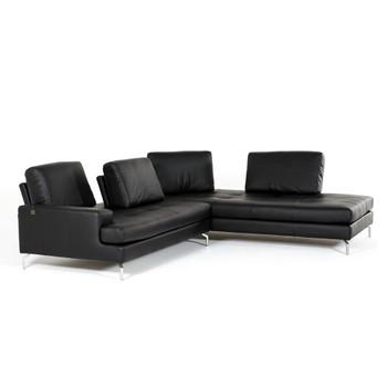 Estro Salotti Voyager Modern Black Leather Sectional Sofa