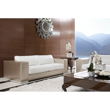 Divani Casa Cordova Modern Bronze & White Leather Sofa Set