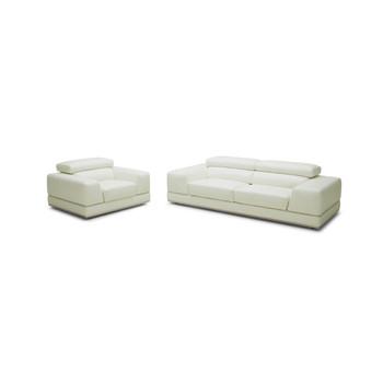 Divani Casa Chrysanthemum Modern White Leather Sofa Set