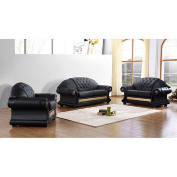 Divani Casa Cleopatra Traditional Black Leather Sofa Set