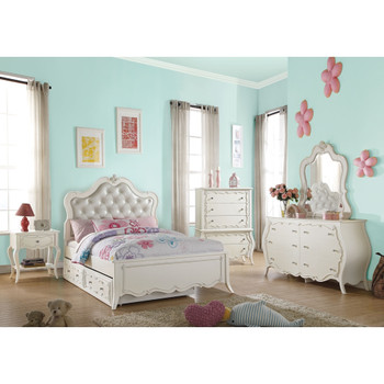 Edalene Pearl White Bedroom Mirror