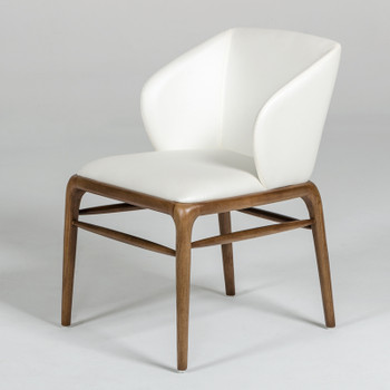 Modrest Kipling Modern Cream & Walnut Dining Chair