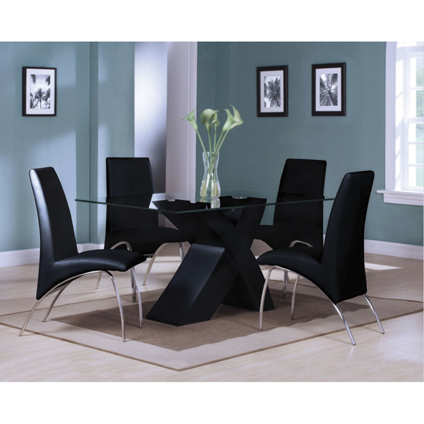 Pervis Black Leather Dining Chair