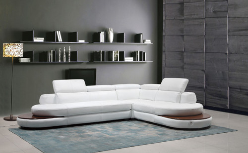 Divani Casa Killian Modern White Italian Leather Sectional Sofa : italian leather sectional - Sectionals, Sofas & Couches