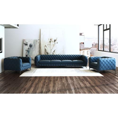 Divani Casa Delilah Modern Blue Sofa Amp Chair Set Lounge La