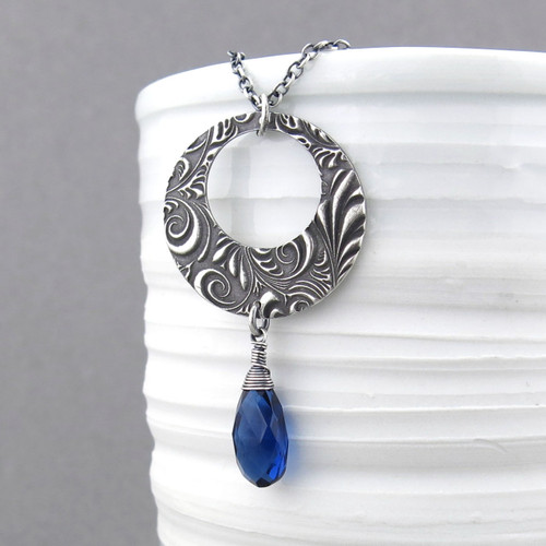 Luxe Erin Necklace - Sapphire and Sterling Silver - As Seen On The Vampire Diaries