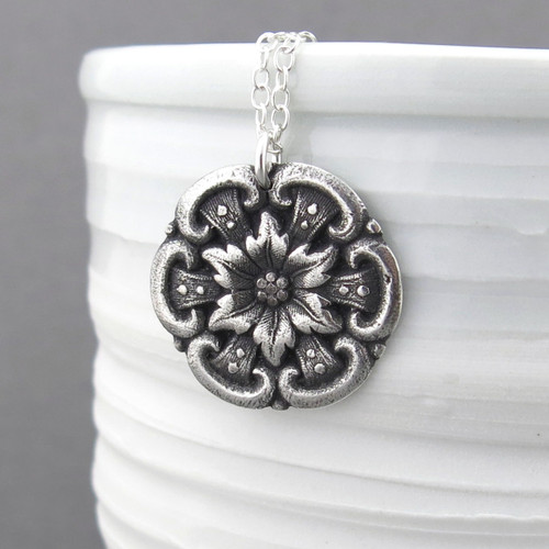 Barberry Flower Necklace - Long Sterling Silver Necklace