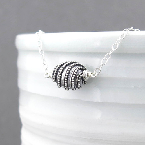 Oval Bead Necklace - Modern Edge Sterling Silver