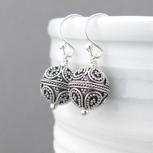 Round Bead Earrings - Sterling Silver - Petite Drops