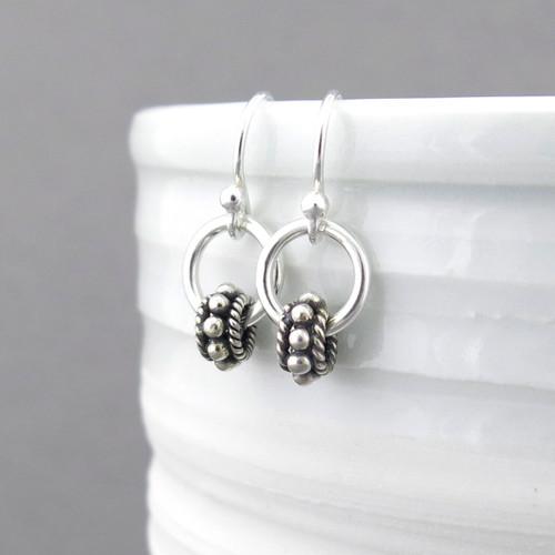 Tiny Hoop Earrings - Sterling Silver - Bead Hoops