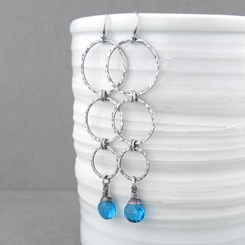 Marilynn Earrings - Teal Quartz and Sterling Silver