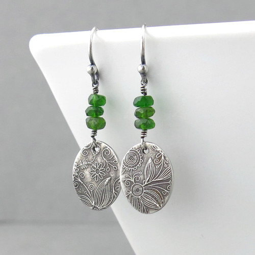 Tracey Earrings - Chrome Diopside and Sterling Silver