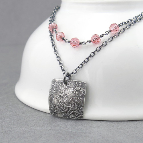 Double Strand Necklace - Peach Crystal and Sterling Silver