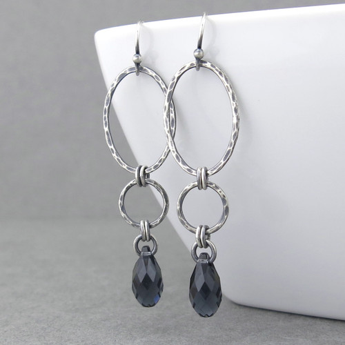 Adorned Aubrey Earrings - Graphite Crystal and Sterling Silver
