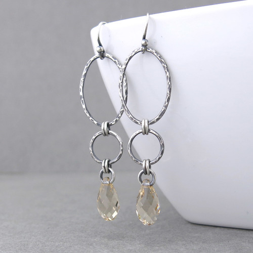 Adorned Aubrey Earrings - Light Silk Crystal and Sterling Silver