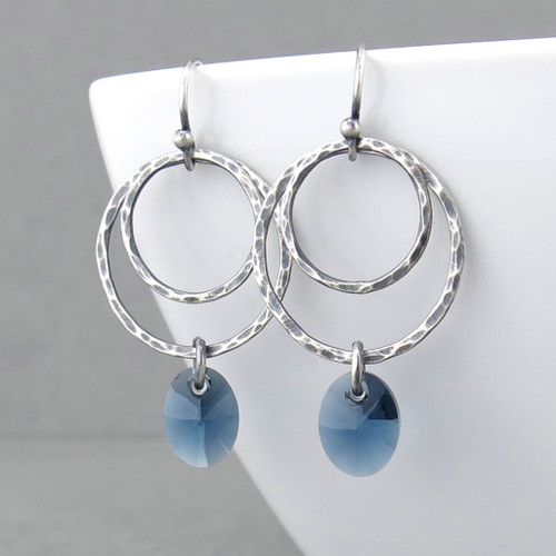 Ashley Earrings - Sapphire Crystal and Sterling Silver