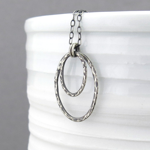 Oval Shimmer Layers Necklace - Sterling Silver