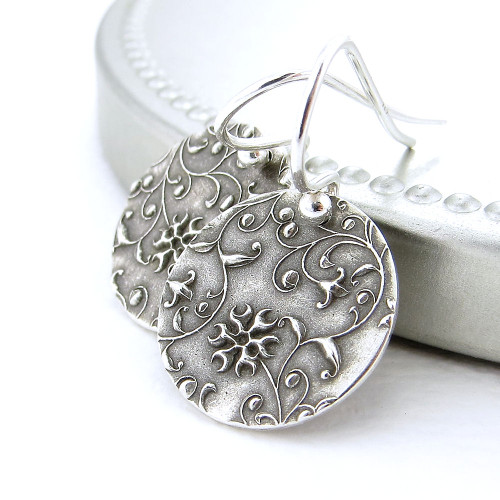 Romantic Flower & Vines Earrings - Unique Petite