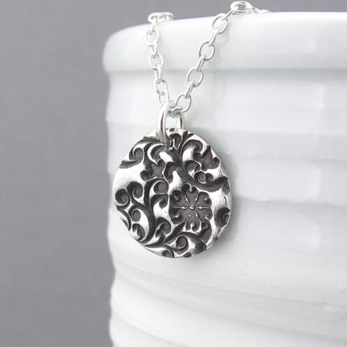 Bold Flower & Vines Necklace - Unique Petite