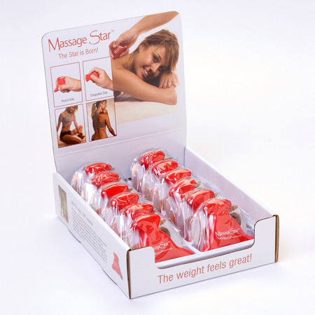 counter top display for Massage Star massage therapy tools
