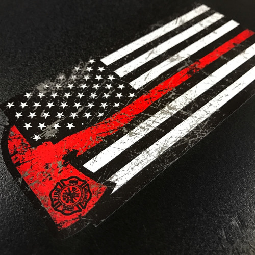 American Flag Red Axe Sticker