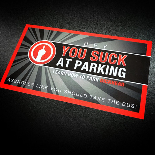 You Suck at Parking Red - Sticker