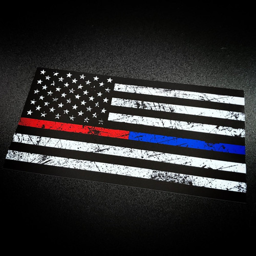 American Flag Rustic Red Amp Blue Stripe Sticker