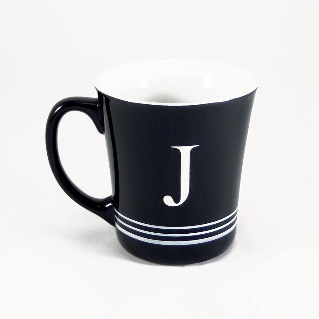 Personalized Striped Black Coffee Mug