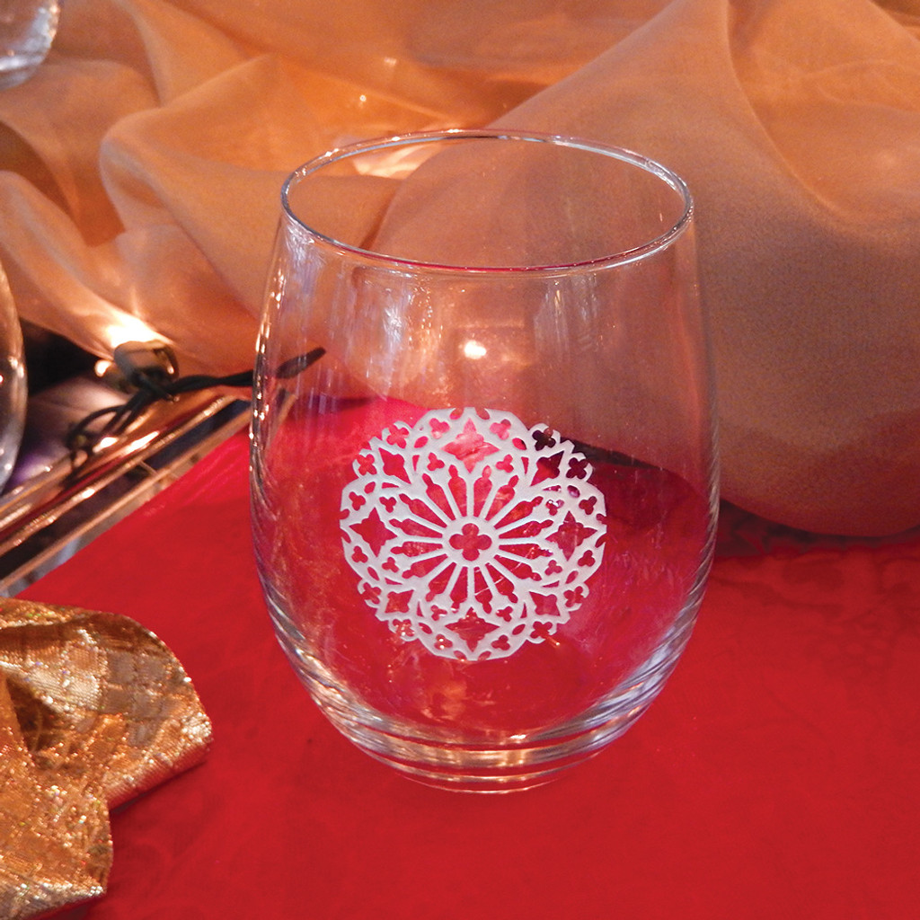 White Snowflake Stemless Wine Glass