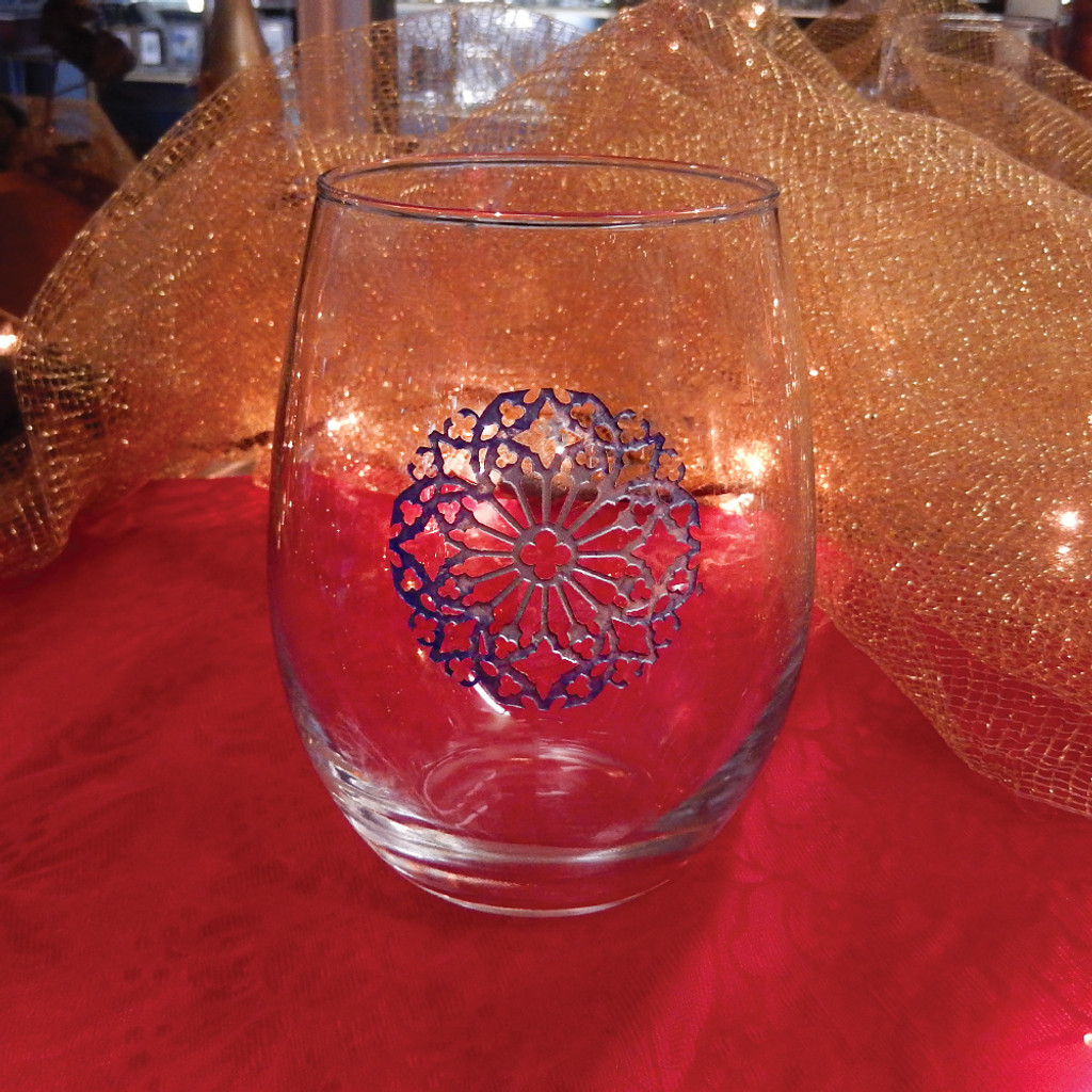 Icy Blue Snowflake Stemless Wine Glass