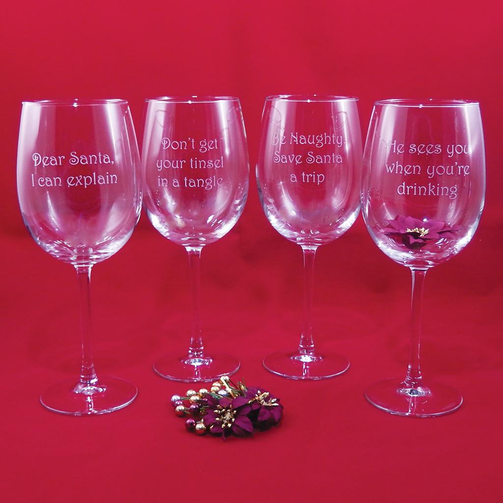 Christmas Wisdom Stemmed Wine Glass Set