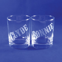 Bonnie and Clyde Whiskey Glass Pair