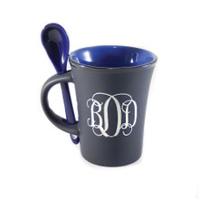 Personalized Matte Black and Dark Blue Mug with Matching Spoon