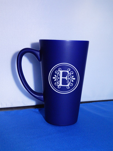 Large Monogrammed Blue Funnel Mug